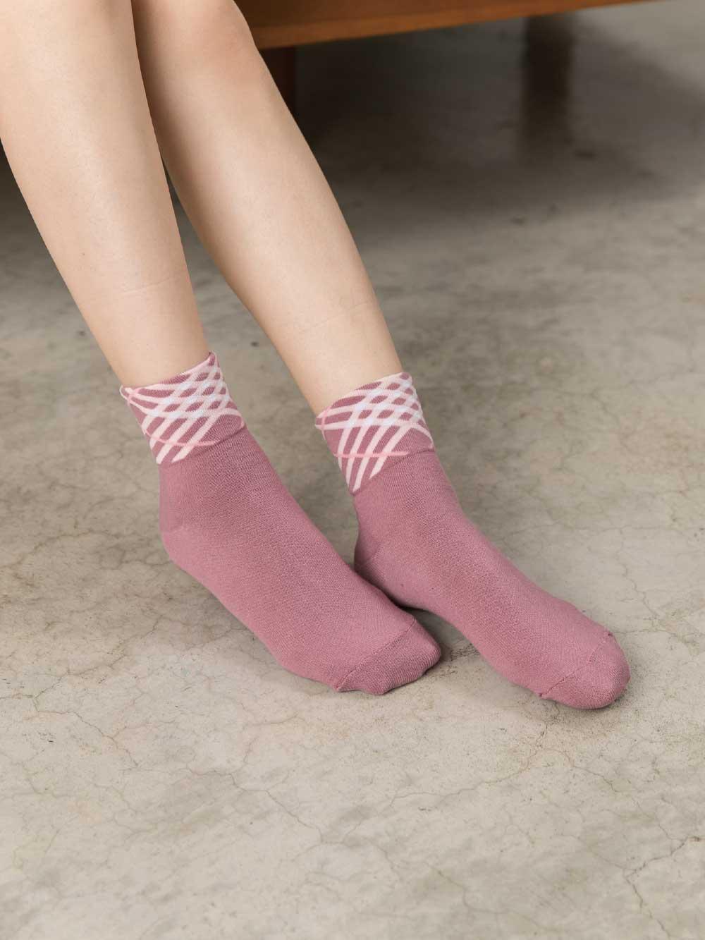 貝柔柔棉寬口襪-斜紋