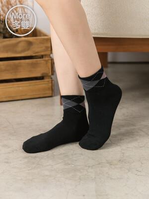 貝柔(6雙)柔棉寬口襪-菱格