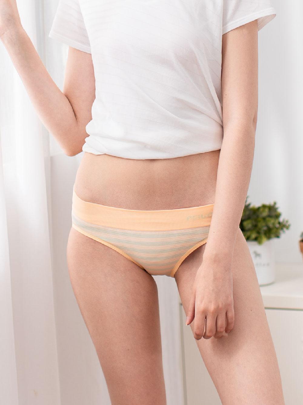 貝柔機能無縫低腰三角褲-亮橘