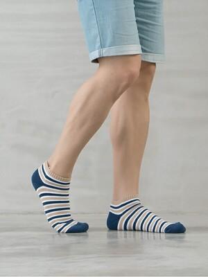 加大碼運動氣墊船型襪-條紋