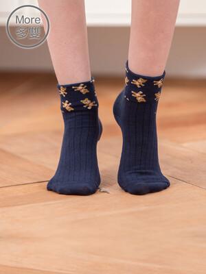 貝柔(6雙)日系萊卡寬口襪-小熊