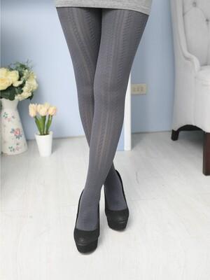 純色麻花條紋褲襪