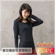 EKS重效機能吸濕發熱保暖衣_女圓領(丈青)