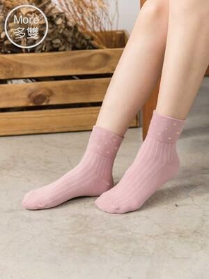 貝柔(6雙)日系萊卡寬口襪-點點