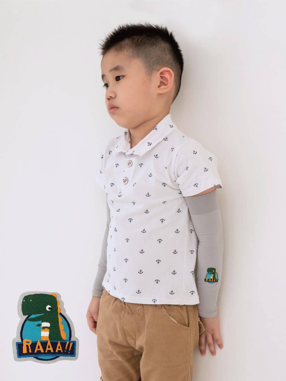 貝柔UPF50+兒童高效涼感防蚊抗UV袖套-恐龍(刺繡)