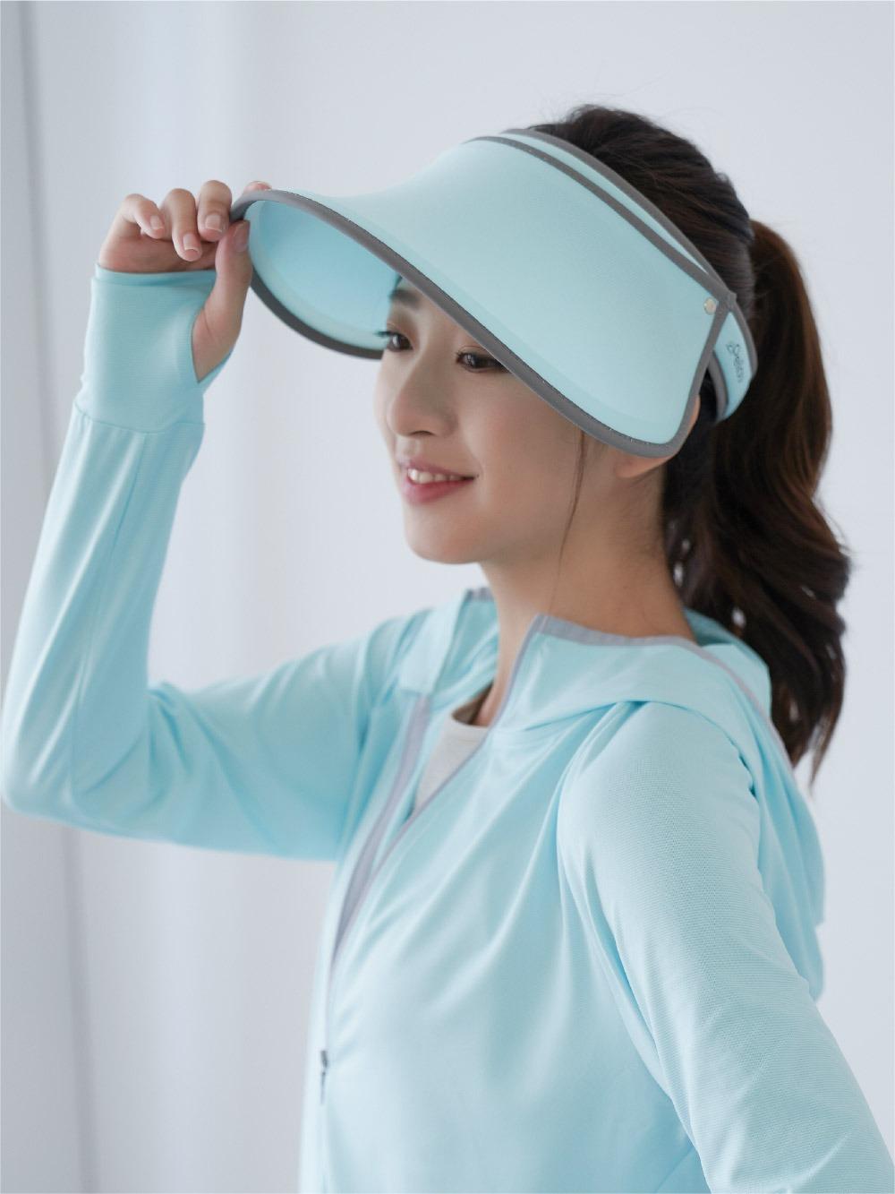 貝柔UPF50+光肌美顏遮陽帽-湖綠