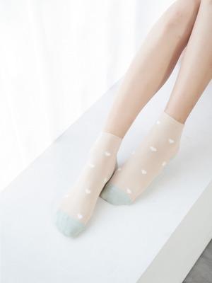 貝柔消臭精梳棉短襪-愛心