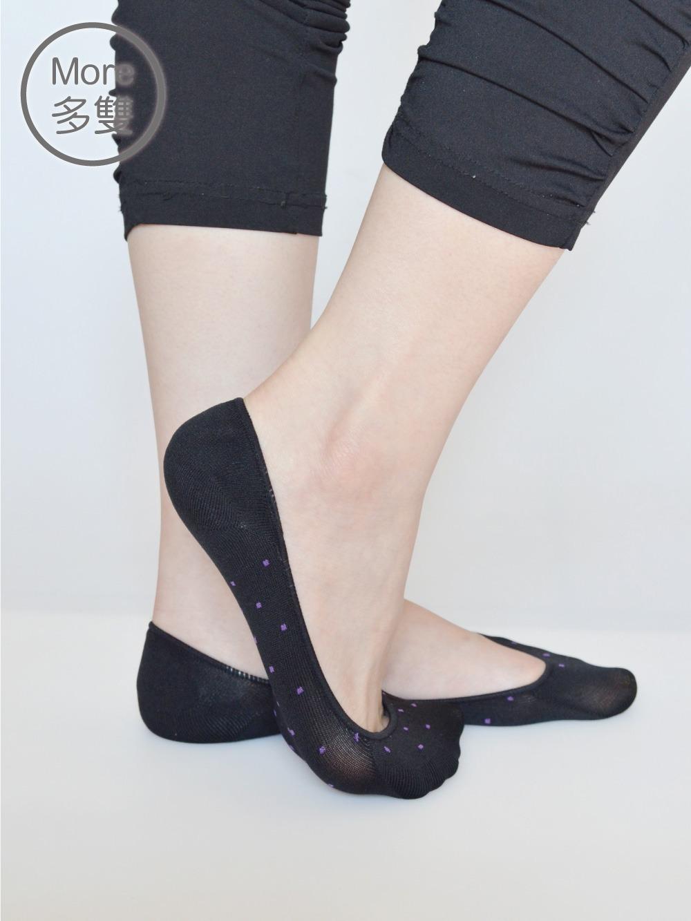 貝柔(6雙)吸濕速乾足底止滑襪套-點點