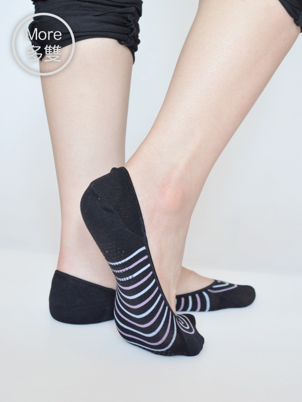 貝柔(6雙)吸濕速乾足底止滑襪套-氣質條紋