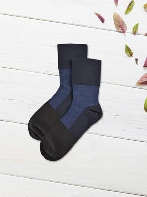 貝柔甲殼素抑菌寬口紳士襪-方格紋