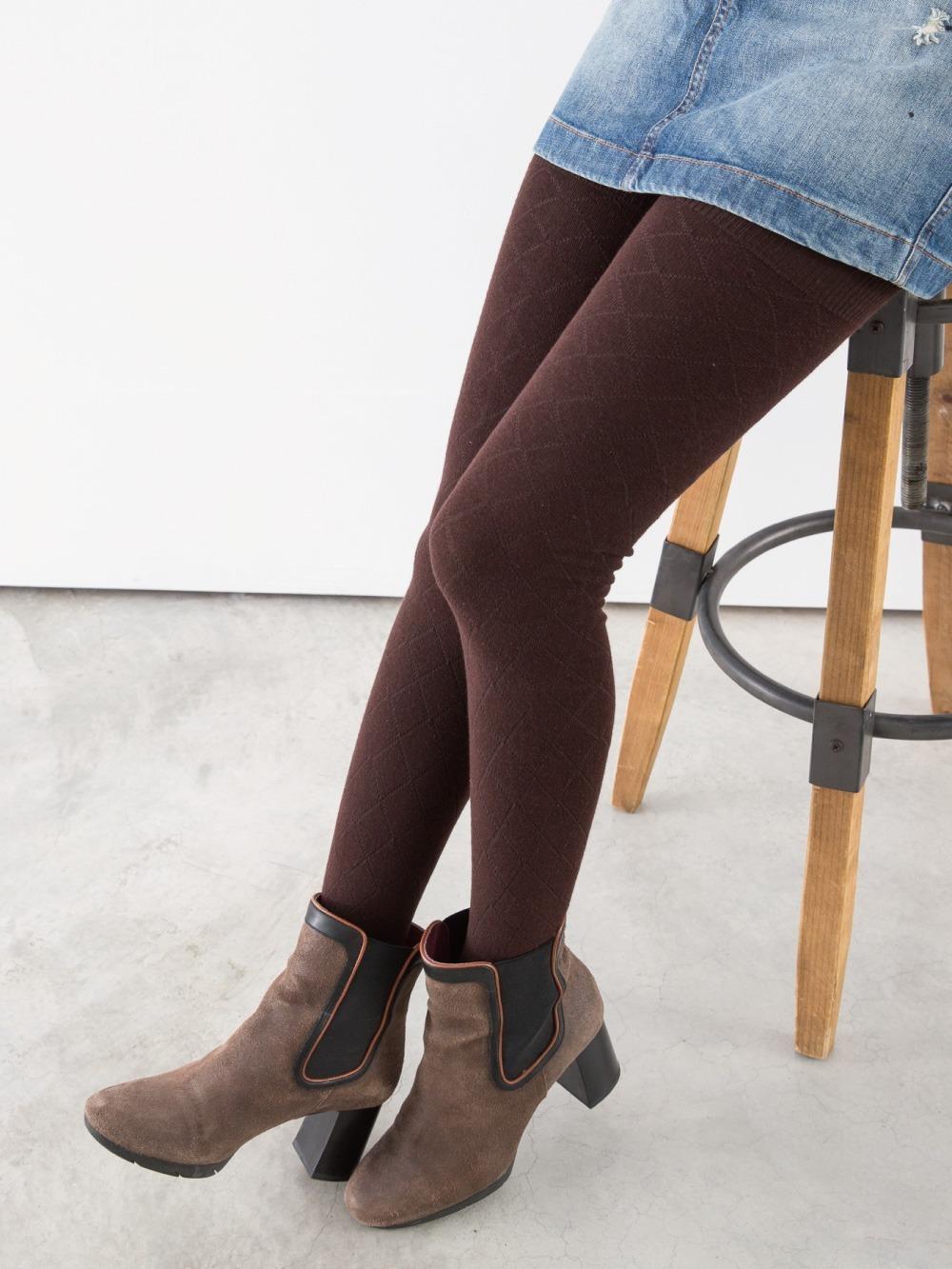 立體針織花紋精梳棉褲襪-菱格