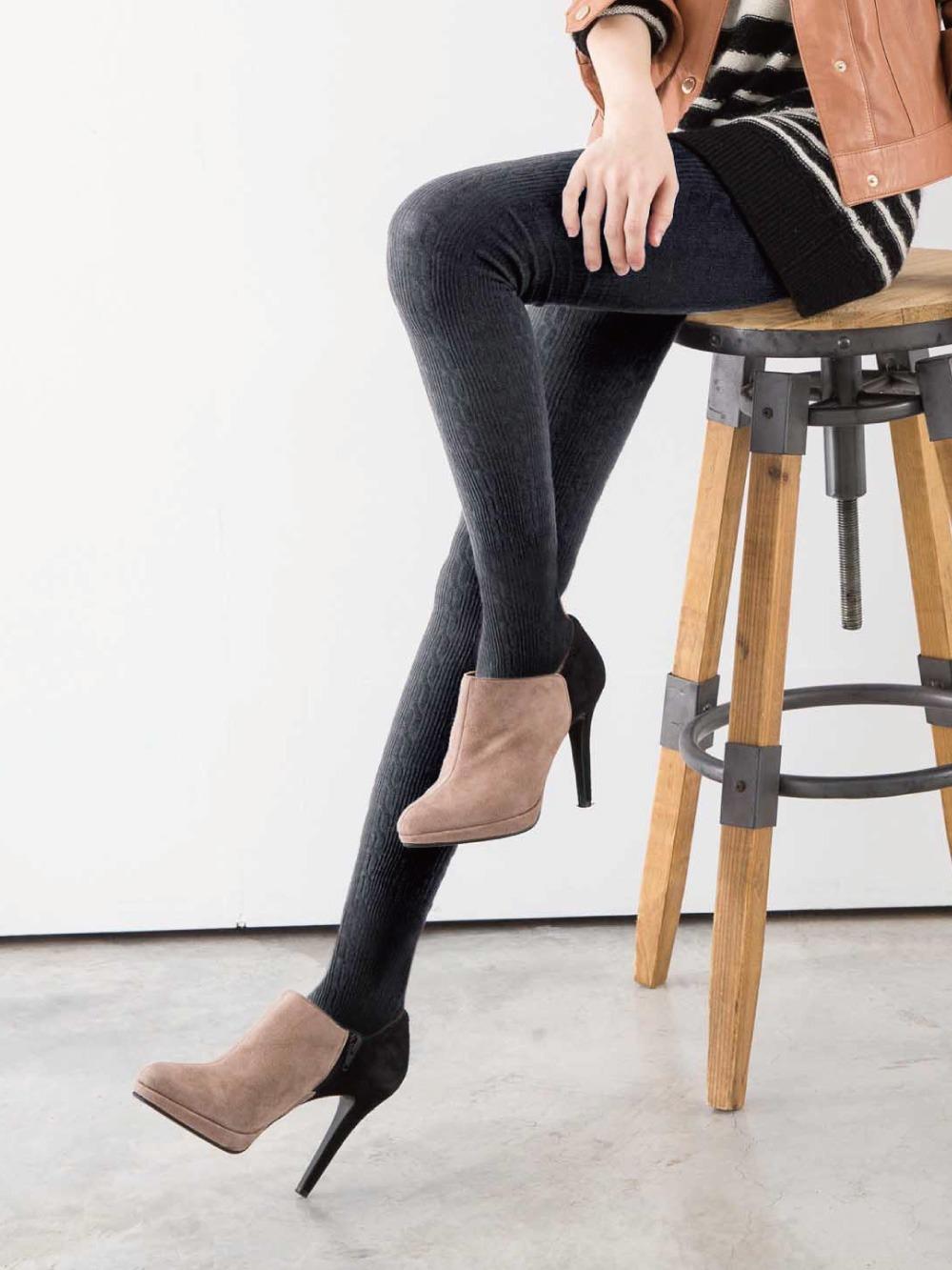 立體針織花紋精梳棉褲襪-拐麻花