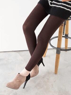 立體針織花紋精梳棉九分褲襪-麻花