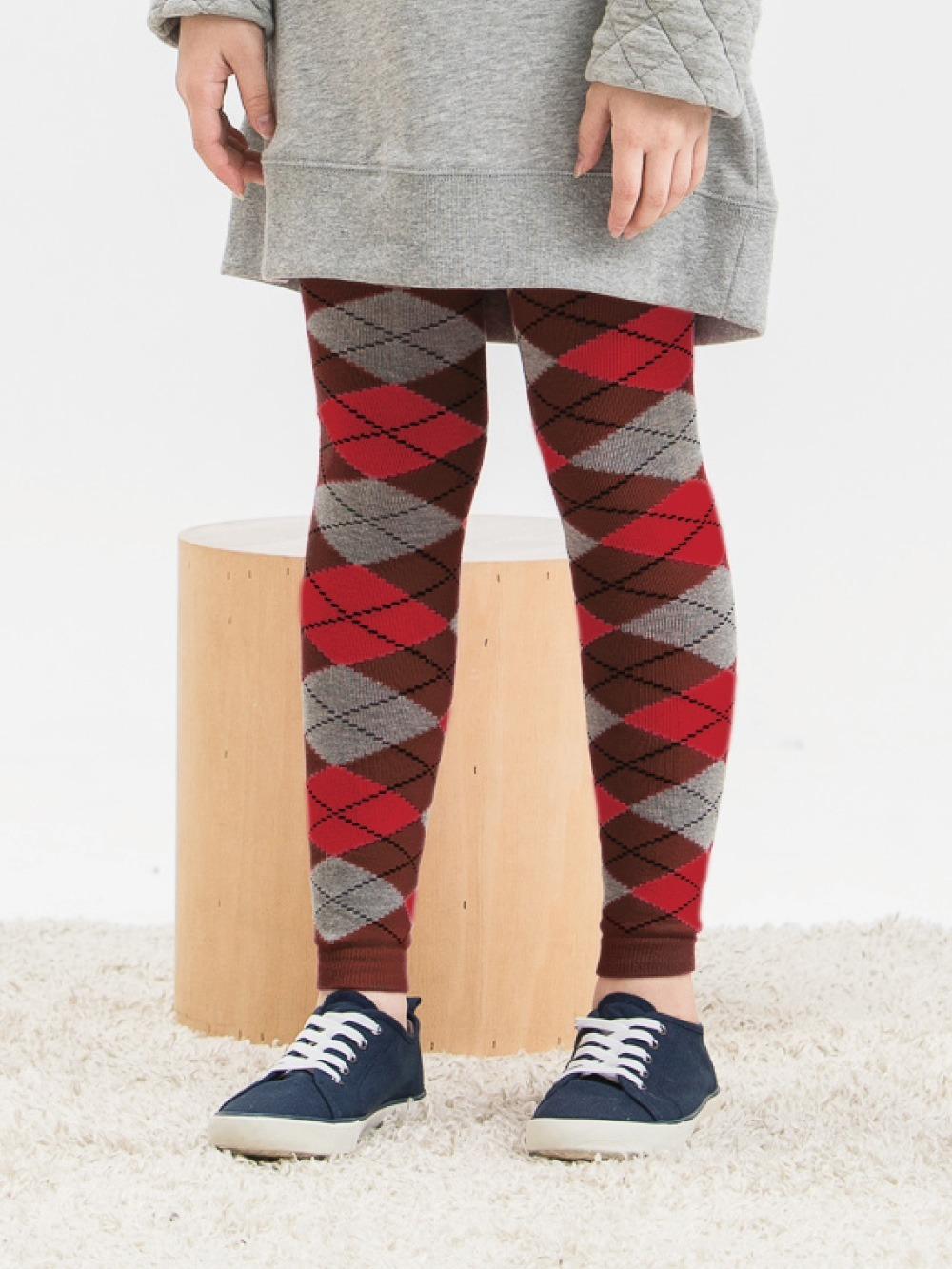女童精梳棉保暖九分褲襪-菱格