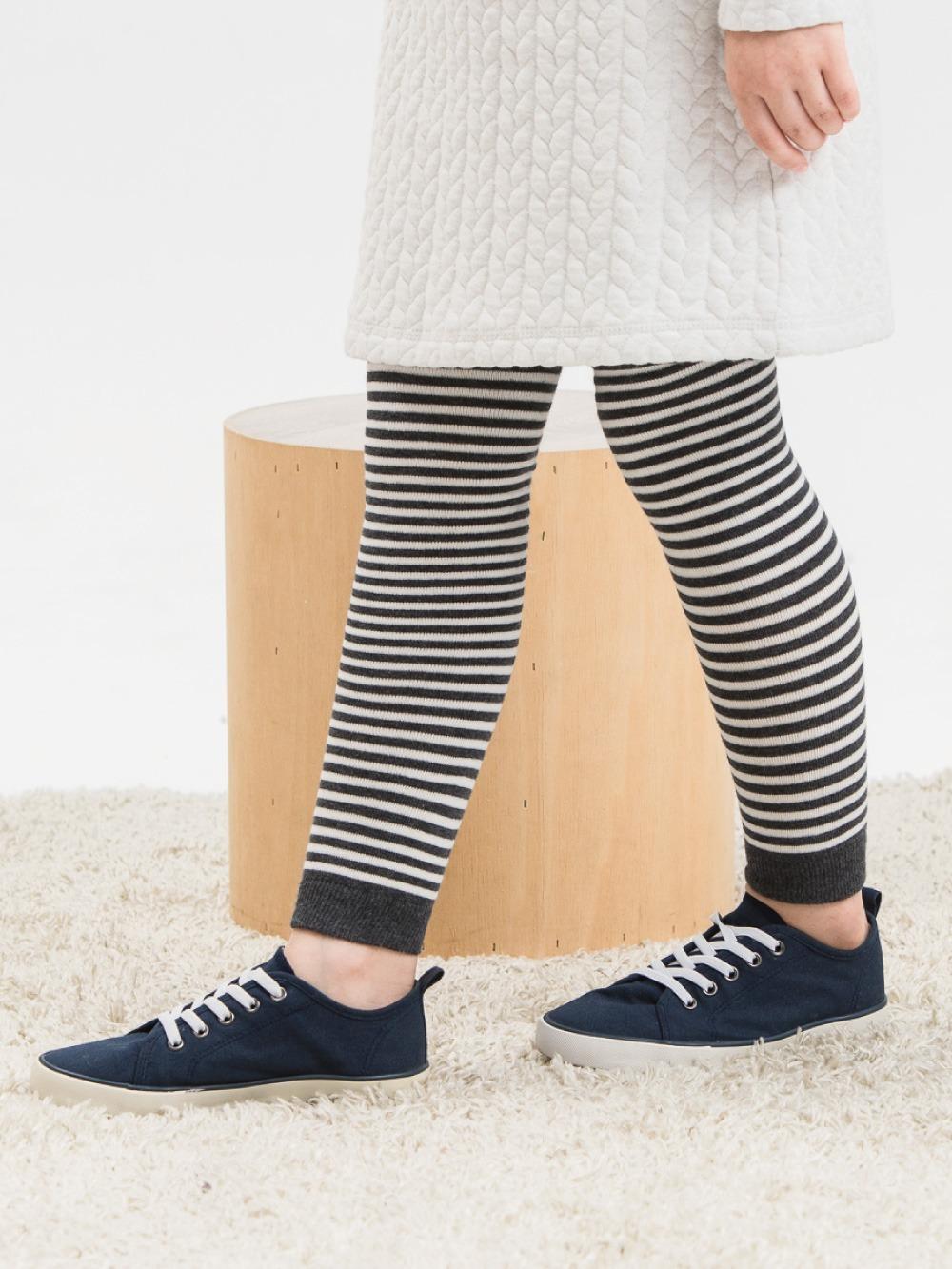 女童精梳棉保暖九分褲襪-條紋