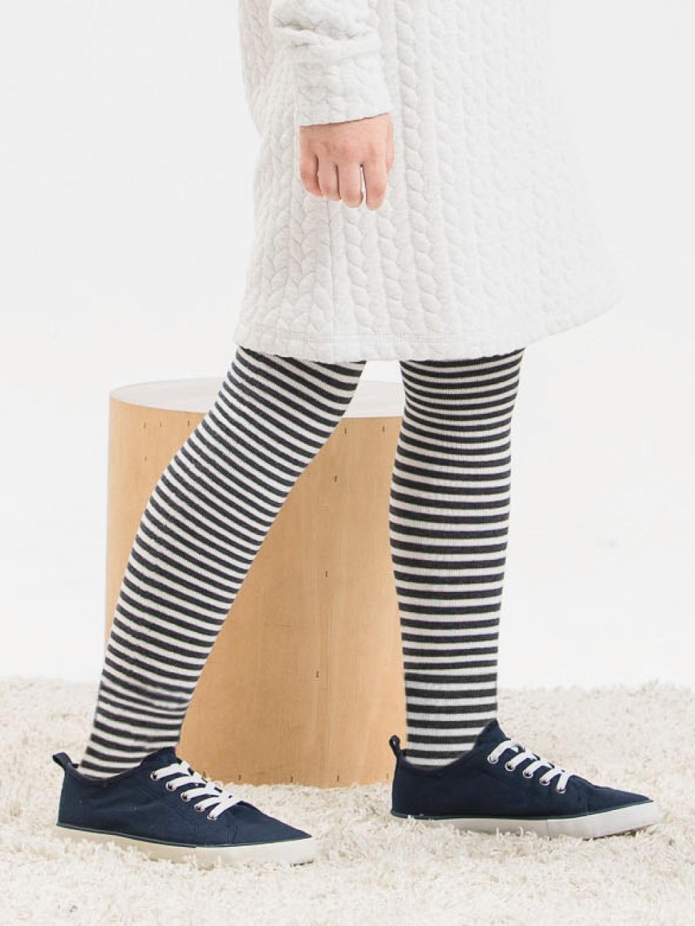 女童精梳棉保暖褲襪-條紋