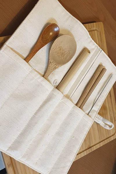 棉麻環保餐具袋(六格)