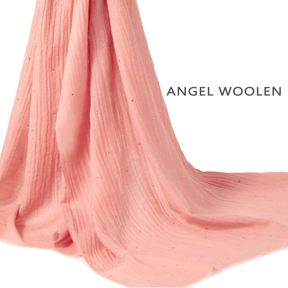 【Angel Woolen】經典素雅 印度Pashmina手工水鑽 羊絨披僅剩件數橙7