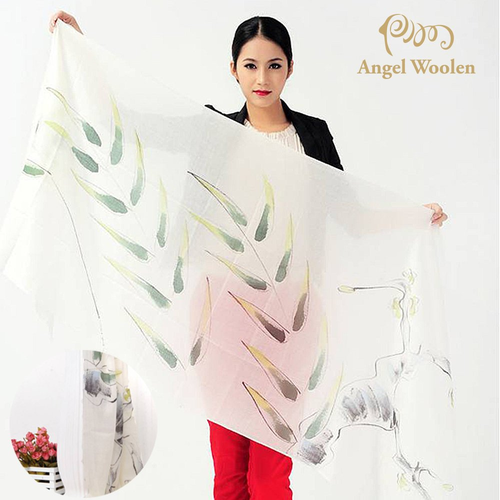 【Angel Woolen】手繪工藝100%Cashmere羊絨披肩圍巾(柳綠)