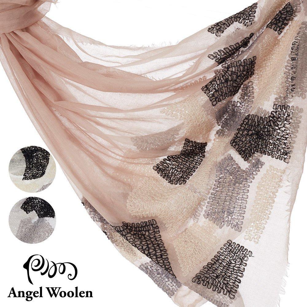 【Angel Woolen】印度手工刺繡肩圍巾(幾何之秘)僅剩件數米3裸粉3淺灰3