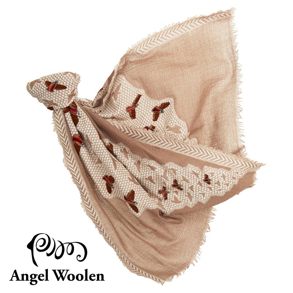【Angel Woolen】微舞印度手工刺繡串珠羊毛披肩-駝色 僅剩3條