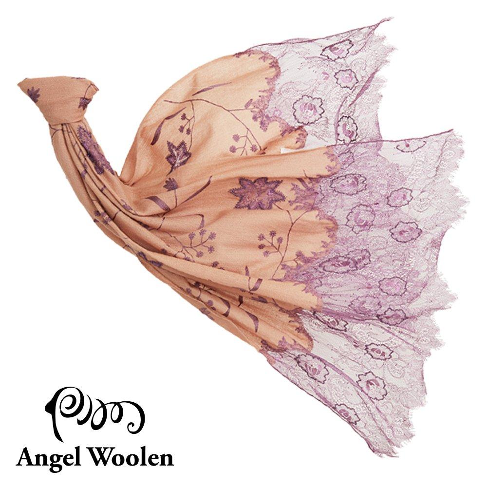 【Angel Woolen】曼妙舞姿印度手工cashmere蕾絲披肩-紫漾
