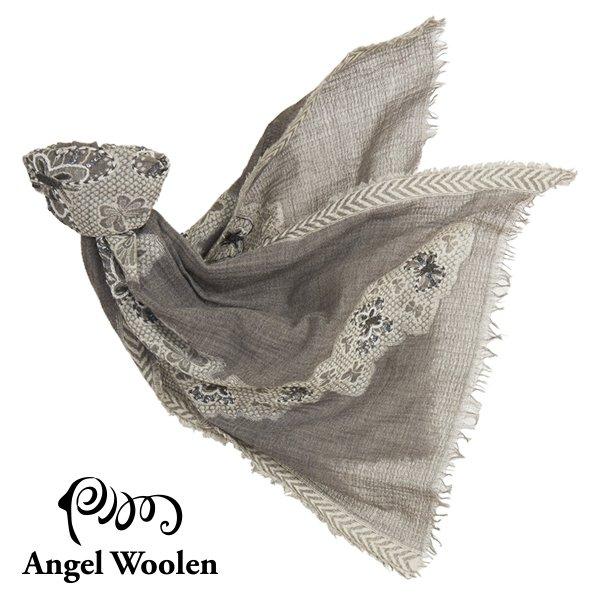 【Angel Woolen】蝶舞印度手工刺繡羊毛披肩-灰