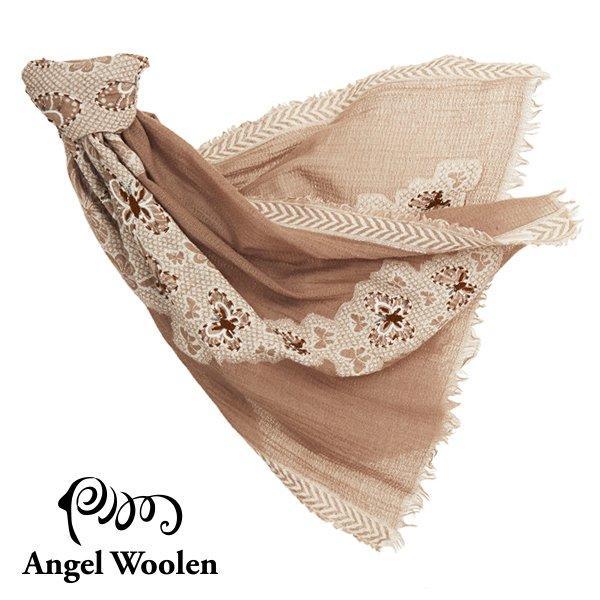 【Angel Woolen】蝶舞印度手工刺繡羊毛披肩-駝色