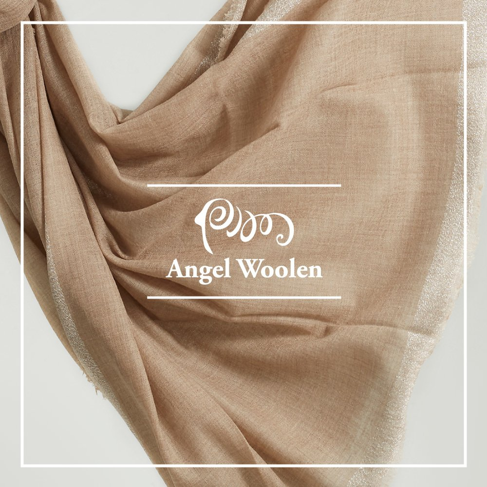 【Angel Woolen】100%Cashmere 頂級純色/原色 羊絨披肩圍巾(金蔥) 僅剩1條