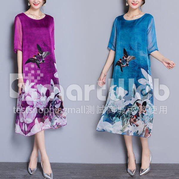 蠶絲 鳥與花印花洋裝-中大尺碼