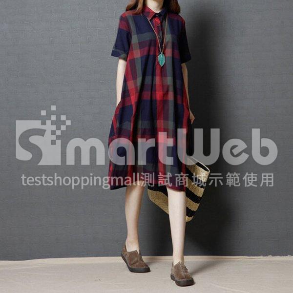 棉麻 格紋雙口袋襯衫領洋裝-中大尺碼