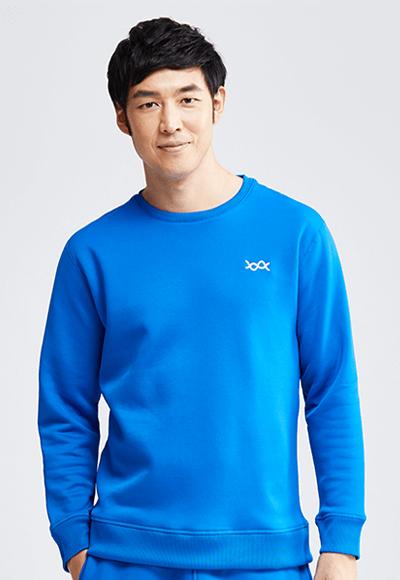 MIT炙熱蜂巢刷毛上衣(琉璃藍 男M-XXL)
