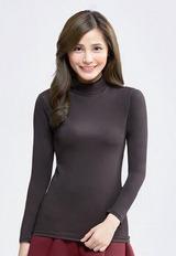 MIT溫灸刷毛立領發熱衣(經典黑 女S-2XL)
