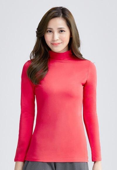 MIT溫灸刷毛立領發熱衣(朝陽紅 女S-2XL)