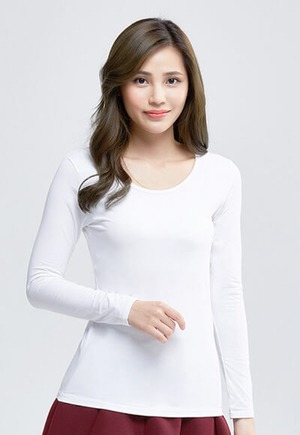 MIT溫灸刷毛圓領發熱衣(純淨白 女S-2XL)