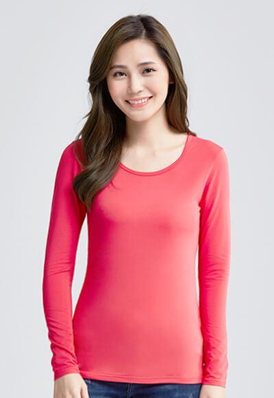 MIT溫灸刷毛圓領發熱衣(朝陽紅 女S-2XL)