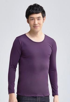 MIT溫灸刷毛圓領發熱衣(羅蘭紫 男S-3XL)