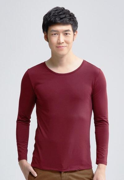 MIT溫灸刷毛圓領發熱衣(醇酒紅 男S-3XL)