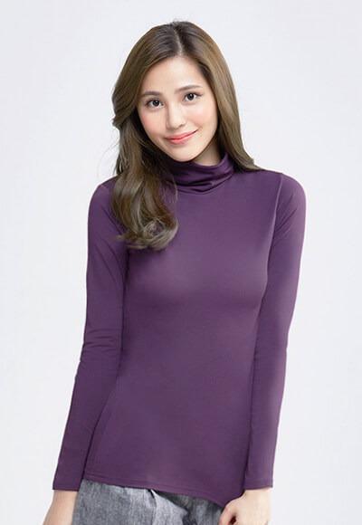 MIT溫灸刷毛高領發熱衣(羅蘭紫 女S-2XL)