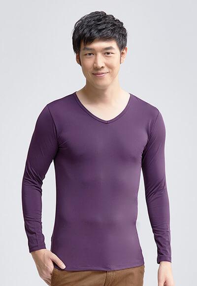 MIT溫灸刷毛V領發熱衣(羅蘭紫 男S-3XL)