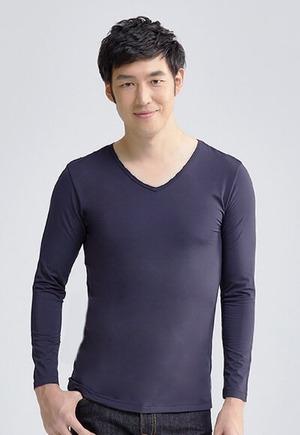 MIT溫灸刷毛V領發熱衣(湛海藍 男S-3XL)