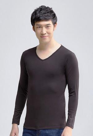 MIT溫灸刷毛V領發熱衣(經典黑 男S-3XL)