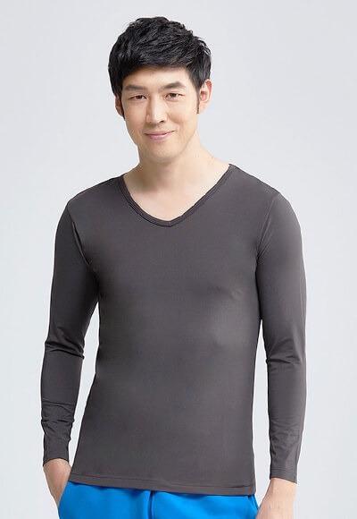 MIT溫灸刷毛V領發熱衣(銀河灰 男S-3XL)