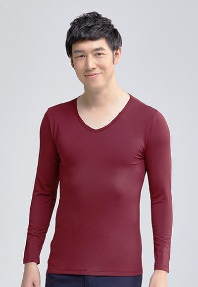 MIT溫灸刷毛V領發熱衣(醇酒紅 男S-3XL)