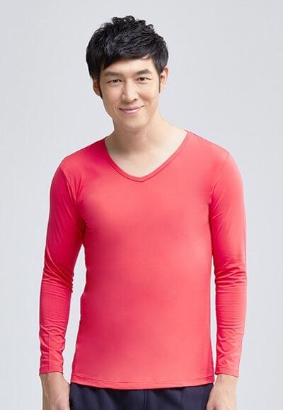 MIT溫灸刷毛V領發熱衣(朝陽紅 男S-3XL)