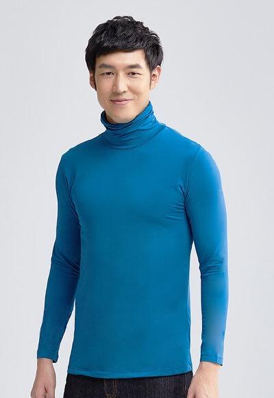 MIT溫灸刷毛高領發熱衣(翡翠藍 男S-3XL)