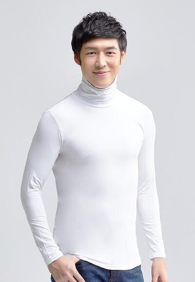 MIT溫灸刷毛高領發熱衣(純淨白 男S-3XL)