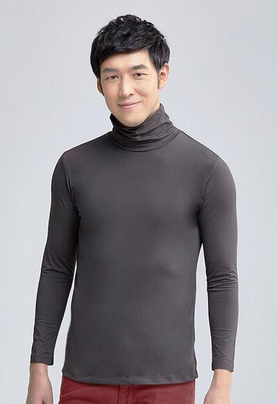 MIT溫灸刷毛高領發熱衣(銀河灰 男S-3XL)
