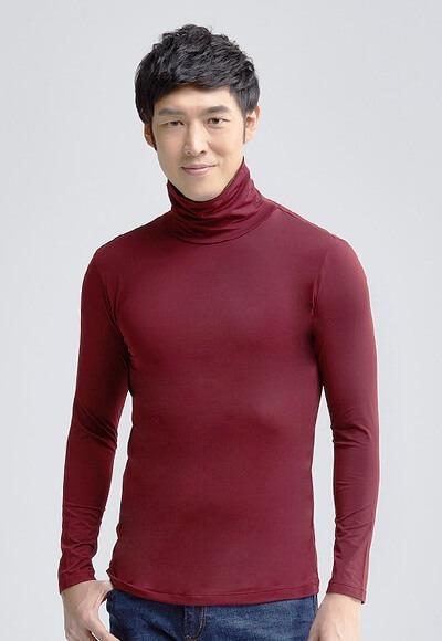 MIT溫灸刷毛高領發熱衣(醇酒紅 男S-3XL)