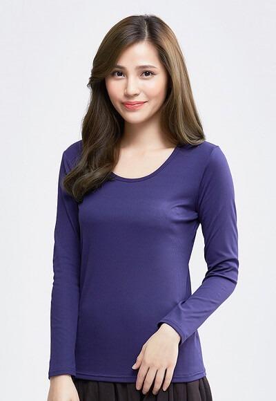 MIT羅紋溫灸刷毛圓領發熱衣(湛海藍 女S-XL)